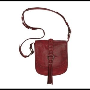 Handbags - Roble Red Leather Crossbody Bag